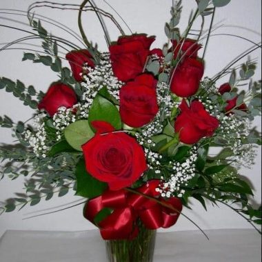 One Dozen Roses in a Vase