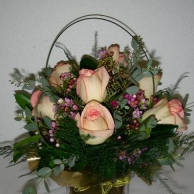 Rose Arrangement Cube Vase
