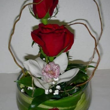 Roses and Orchid in cylinder vase