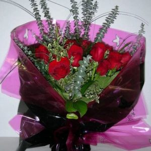 Two Dozen of Roses Hand Tide Bouquet